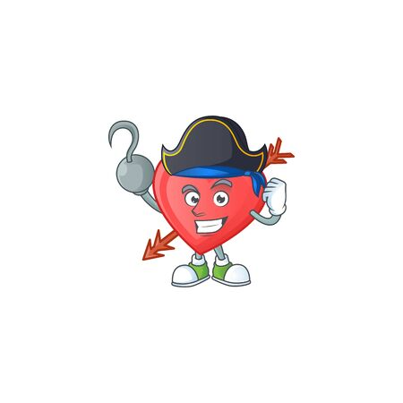 Cool one hand Pirate arrow love cartoon character wearing hat. Vector illustration