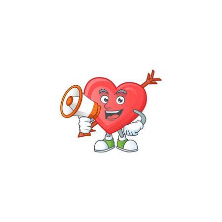Cool cartoon character of arrow love holding a megaphone. Vector illustration