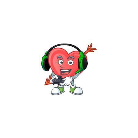 Cool arrow love cartoon mascot with headphone and controller. Vector illustration Illustration