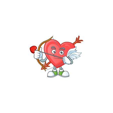 A romantic sweet arrow love Cupid with arrow and wings. Vector illustration