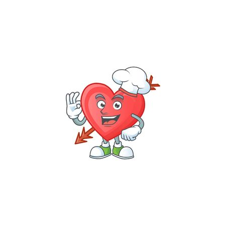 Arrow love cartoon character wearing costume of chef and white hat. Vector illustration Illustration