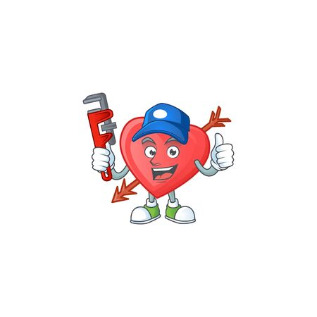 Cool Plumber arrow love on mascot picture style