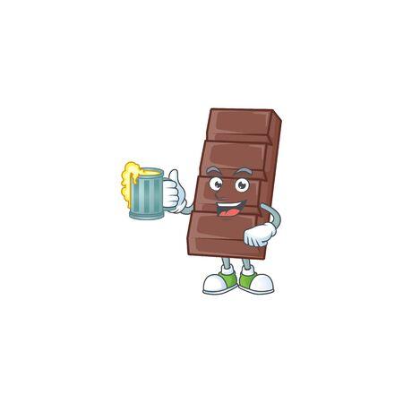 Happy chocolate bar mascot design with a big glass Ilustração