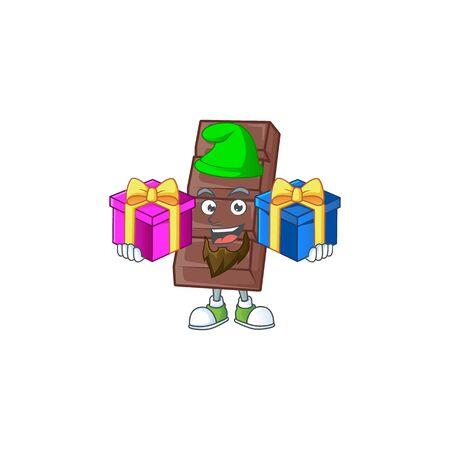 Cute chocolate bar cartoon mascot style with Tongue out Ilustración de vector