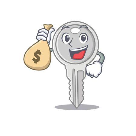 Happy rich key cartoon character with money bag