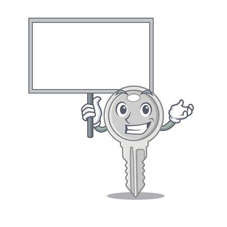 A cute picture of key cute cartoon character bring a board