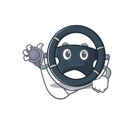Smart and cool car steering cartoon character in a Doctor with tools Illustration