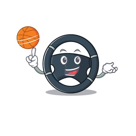 A mascot picture of car steering cartoon character playing basketball