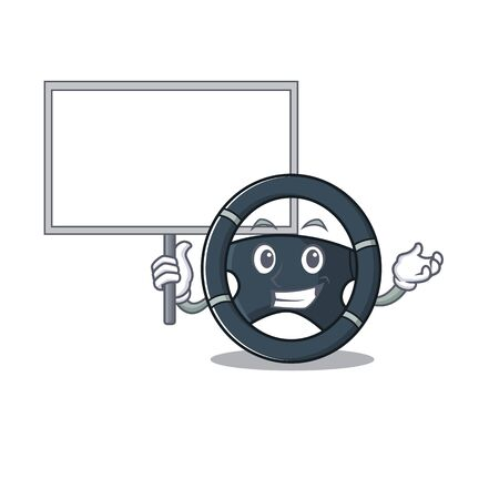 A cute picture of car steering cute cartoon character bring a board