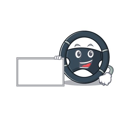 Funny car steering cartoon character design style with board