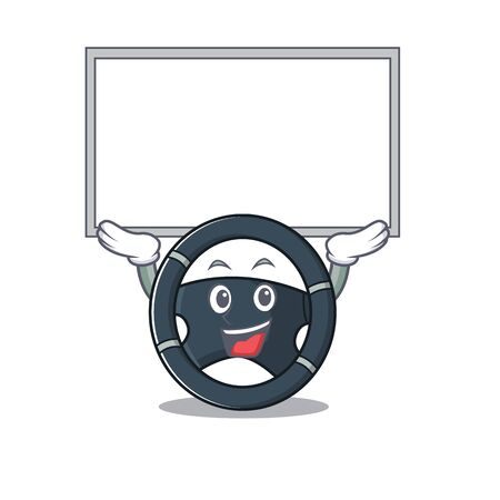 A mascot picture of car steering raised up board Stock Vector - 137761312