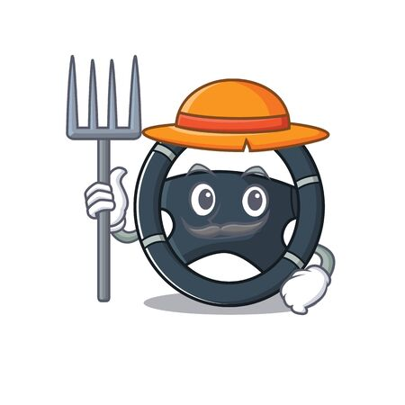 Cheerfully Farmer car steering cartoon picture with hat and tools