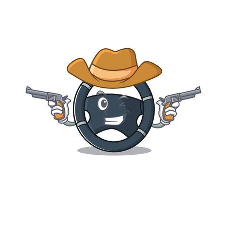 Car steering dressed as a Cowboy having guns Stock Vector - 137761315