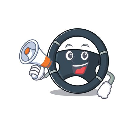 An icon of car steering having a megaphone