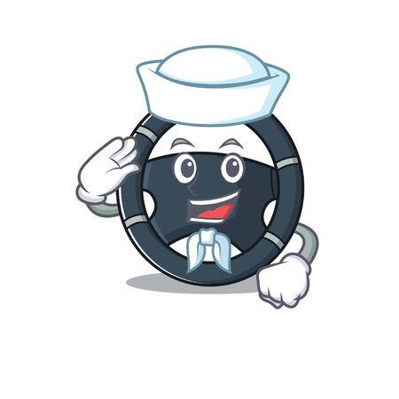 A mascot design of car steering Sailor wearing hat