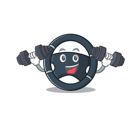 Sporty Fitness exercise car steering using barbells Illustration