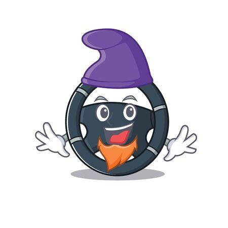 Funny car steering cartoon mascot performed as an Elf