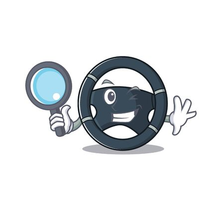 Cool and Smart car steering Detective cartoon mascot style