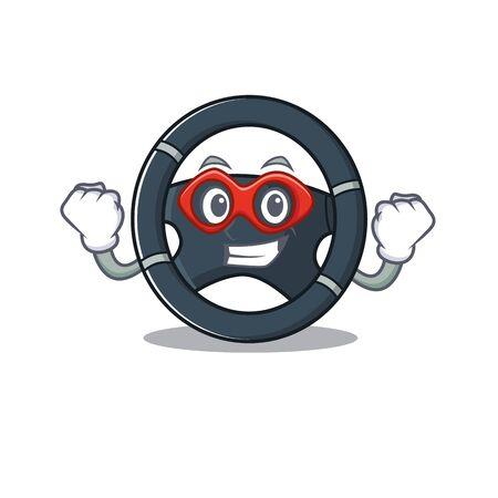 Smiley mascot of car steering dressed as a Super hero