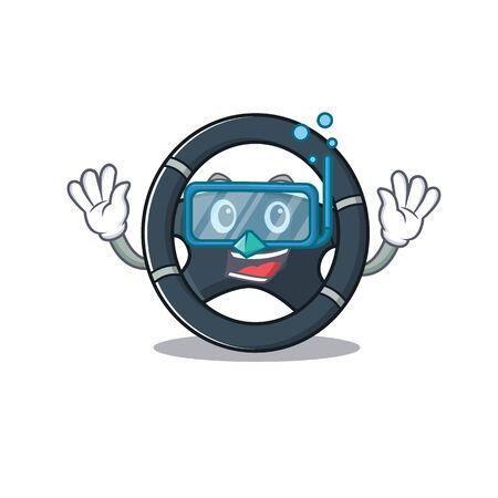 cartoon character of car steering wearing Diving glasses