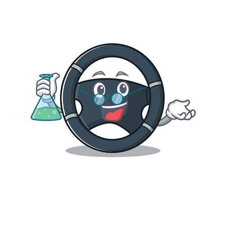 Smart Professor car steering cartoon character with glass tube