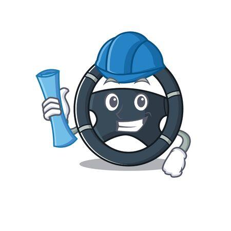 Elegant Architect car steering having blue prints and blue helmet Illustration