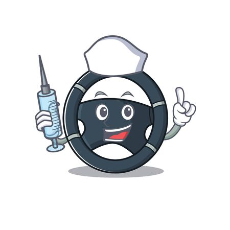 Smiley Nurse car steering cartoon character with a syringe