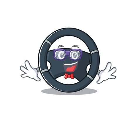 cartoon character of Geek car steering design Stock Vector - 137761372
