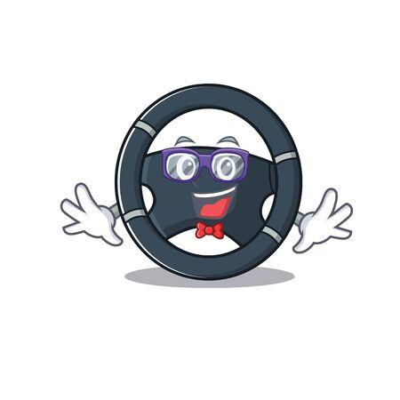 cartoon character of Geek car steering design Illustration