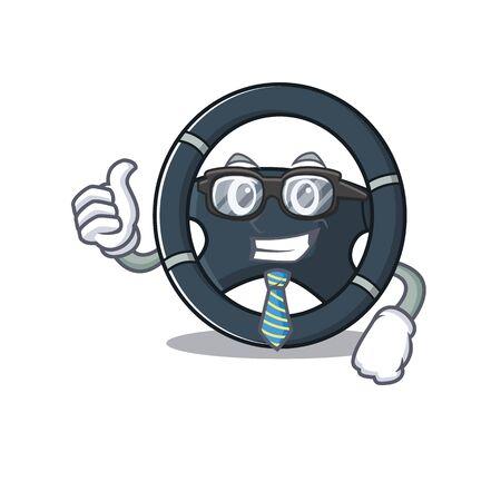 cartoon character of Businessman car steering wearing glasses Stock Vector - 137761375