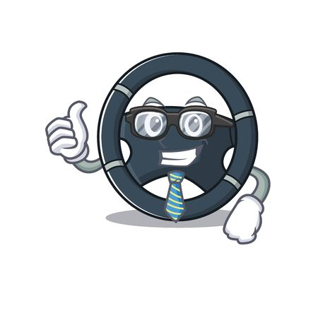 cartoon character of Businessman car steering wearing glasses