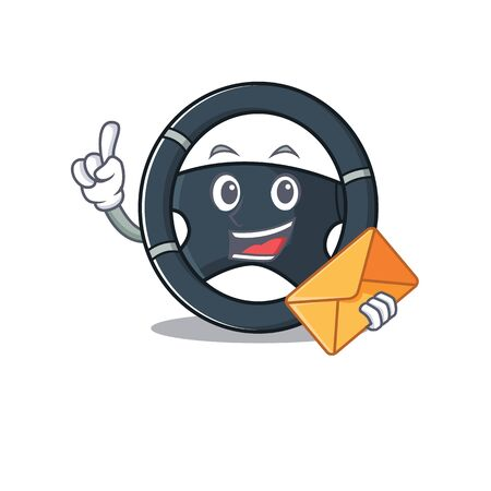 Cheerfully car steering mascot design with envelope Illustration