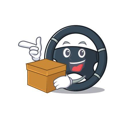 Cute car steering cartoon character having a box