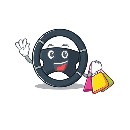 A happy rich car steering waving and holding Shopping bag Illustration