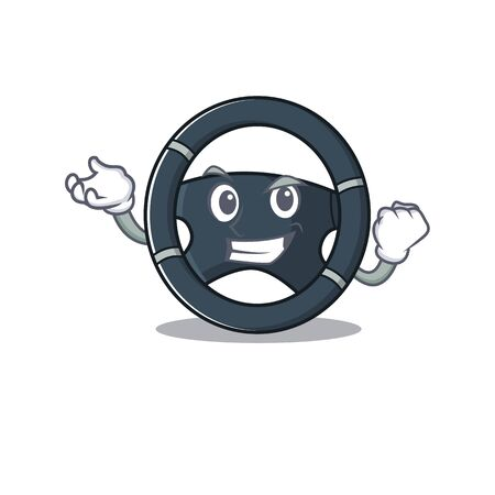 Waving friendly car steering cartoon character design