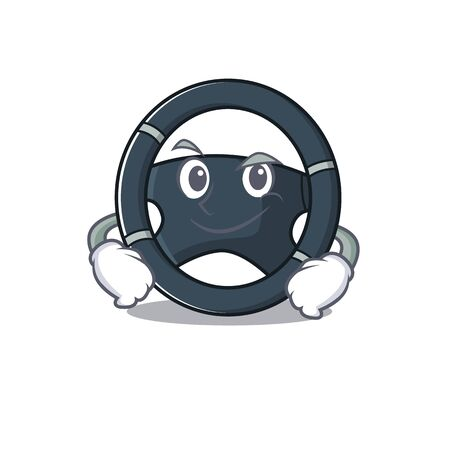 Cool car steering mascot character with Smirking face