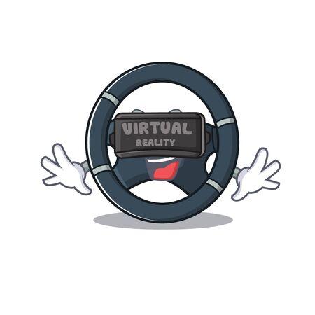 Trendy car steering character wearing Virtual reality headset
