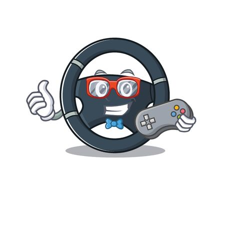Smiley gamer car steering cartoon mascot style Stock Vector - 137761421