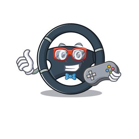 Smiley gamer car steering cartoon mascot style