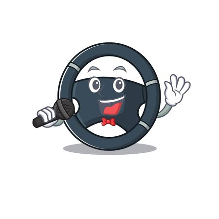 Happy car steering singing on a microphone Stock Vector - 137751197