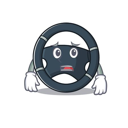 A picture of car steering showing afraid look face