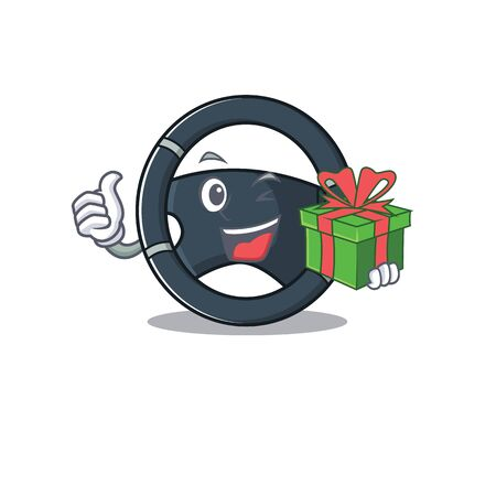 Smiley car steering character with gift box Illustration