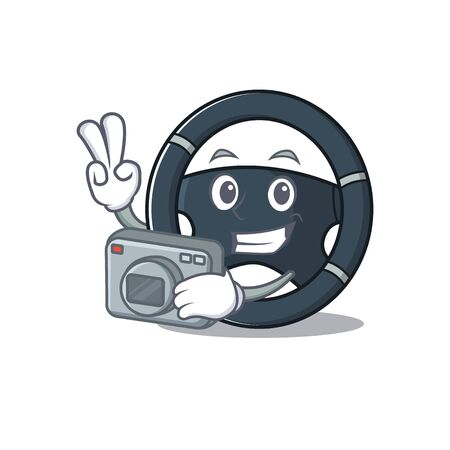 Cool Photographer car steering character with a camera Stock Vector - 137751211