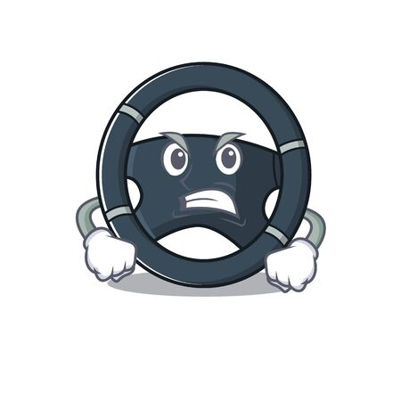 Car steering cartoon character design having angry face