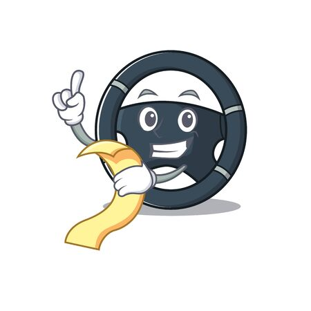 A funny cartoon character of car steering with a menu. Vector illustration