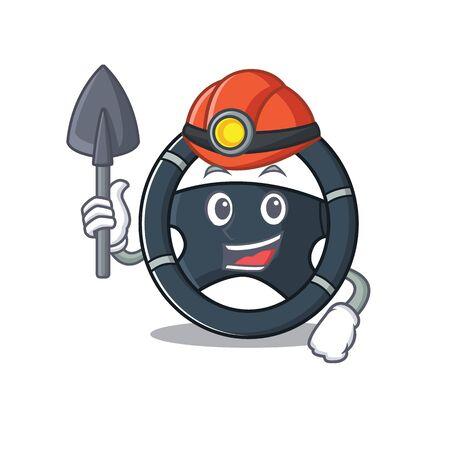 Cool clever Miner car steering cartoon character design. Vector illustration Stock Vector - 137751219