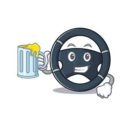 Happy car steering mascot design with a big glass. Vector illustration