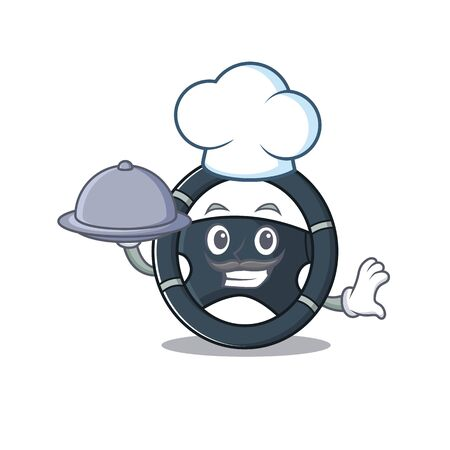 cartoon design of car steering as a Chef having food on tray. Vector illustration