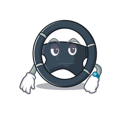 cartoon character design of car steering on a waiting gesture. Vector illustration