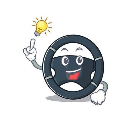 Have an idea gesture of car steering cartoon character design. Vector illustration